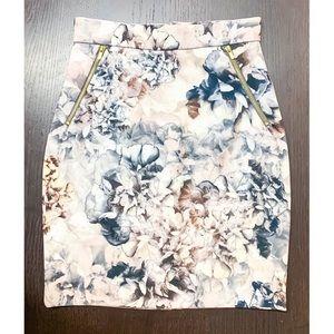 H&M Floral Zipper Pencil Skirt